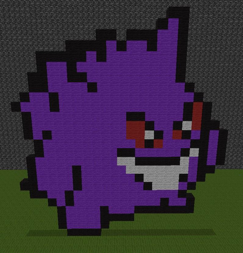 Gengar Pixel Art Minecraft Project