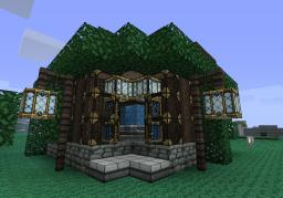 Wooden House with Bar, Swimming Pool, Water Feature Minecraft Map & Project