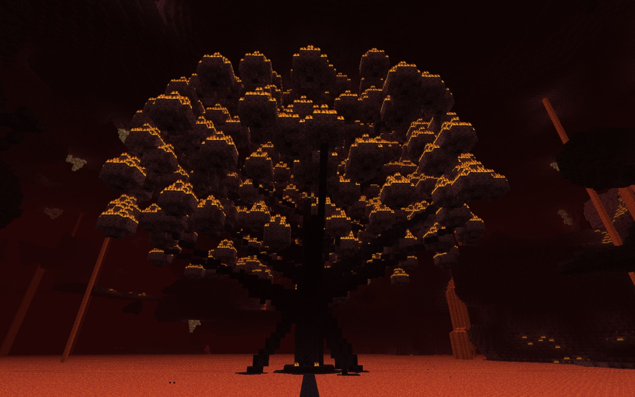 The new nether tree close to the spawn portal.