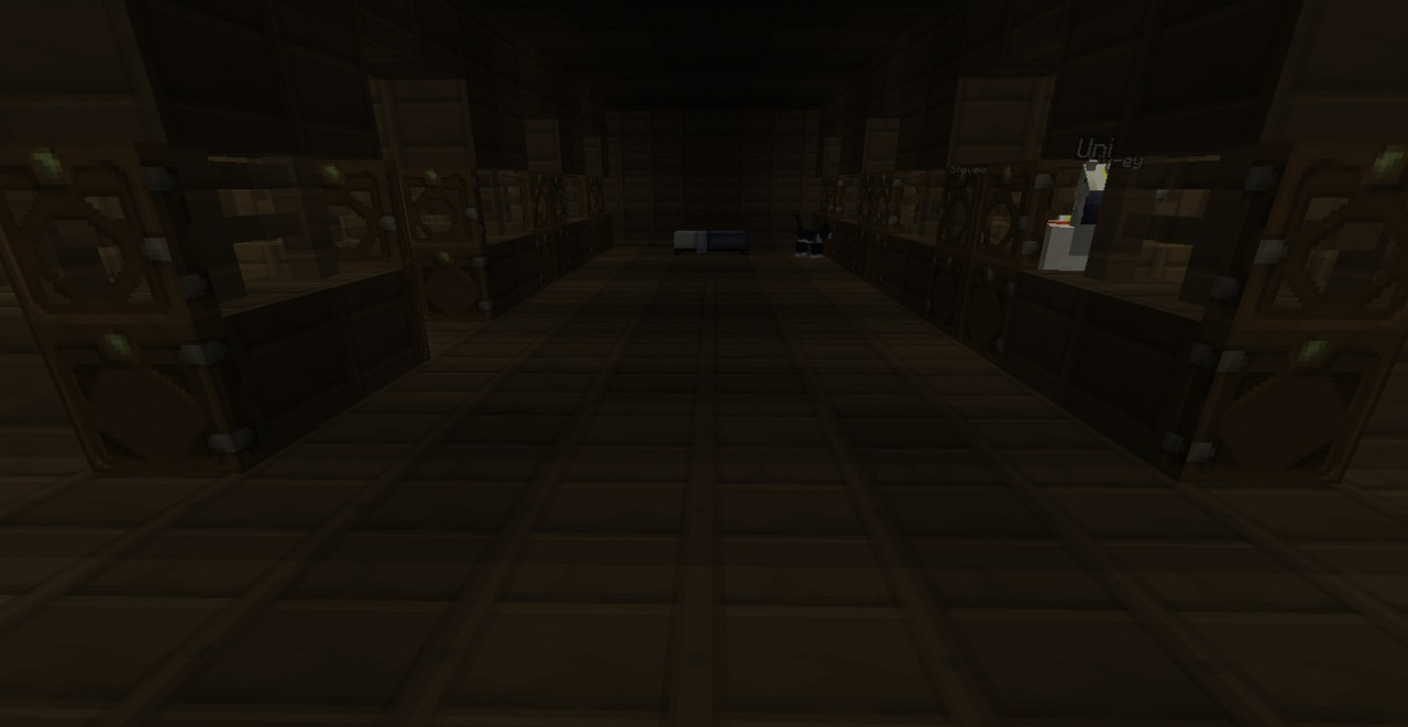 main room inside (with horse stables on both sides)