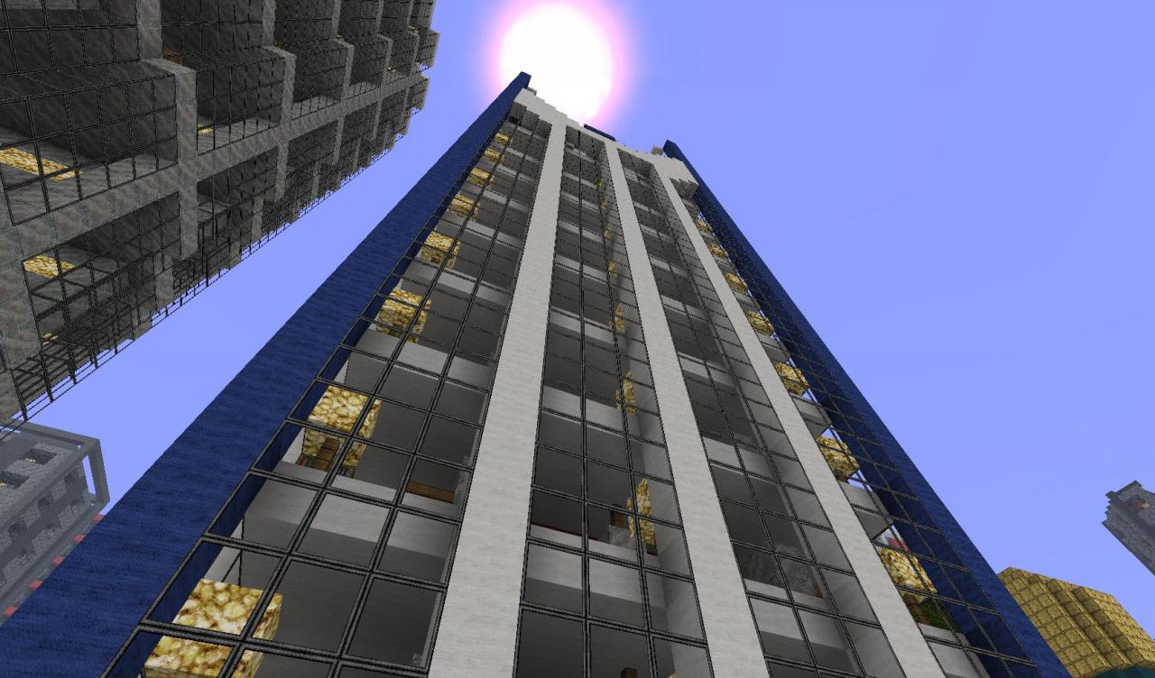 Great Blue Skyscraper With Elevator And Interior