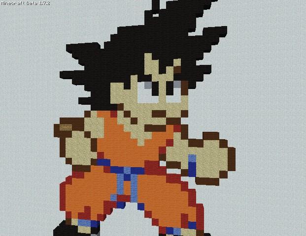 Goku Insane Pixel Art Minecraft Project