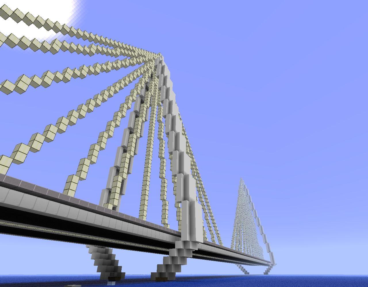 Modern Cable Suspension Bridge Minecraft Project