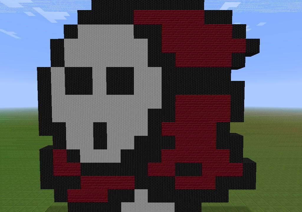 shy guy pixel art minecraft project