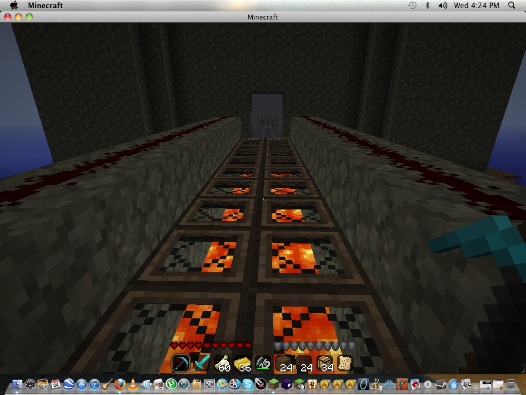 Walking across the lava bridge.