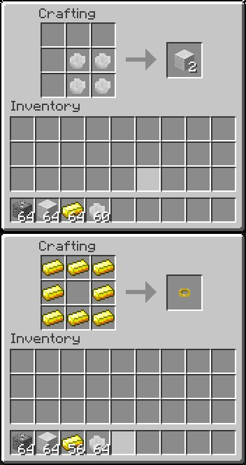 Crafting for the ring and marble blocks