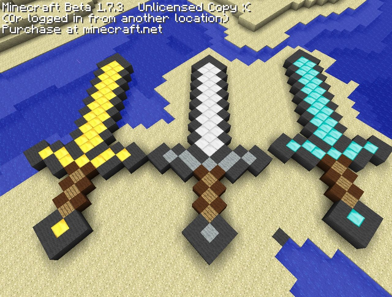 Gold,Iron and Diamond Sword pixel art Minecraft Project