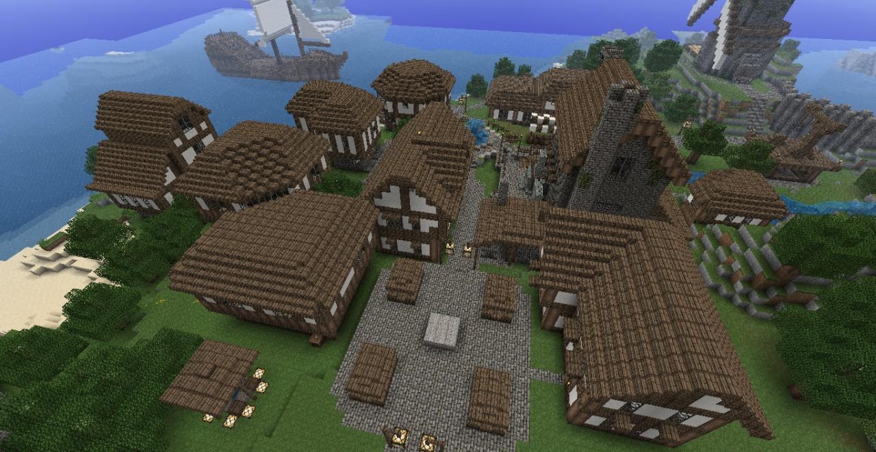 Medieval seaside village town minecraft project for Best village house designs