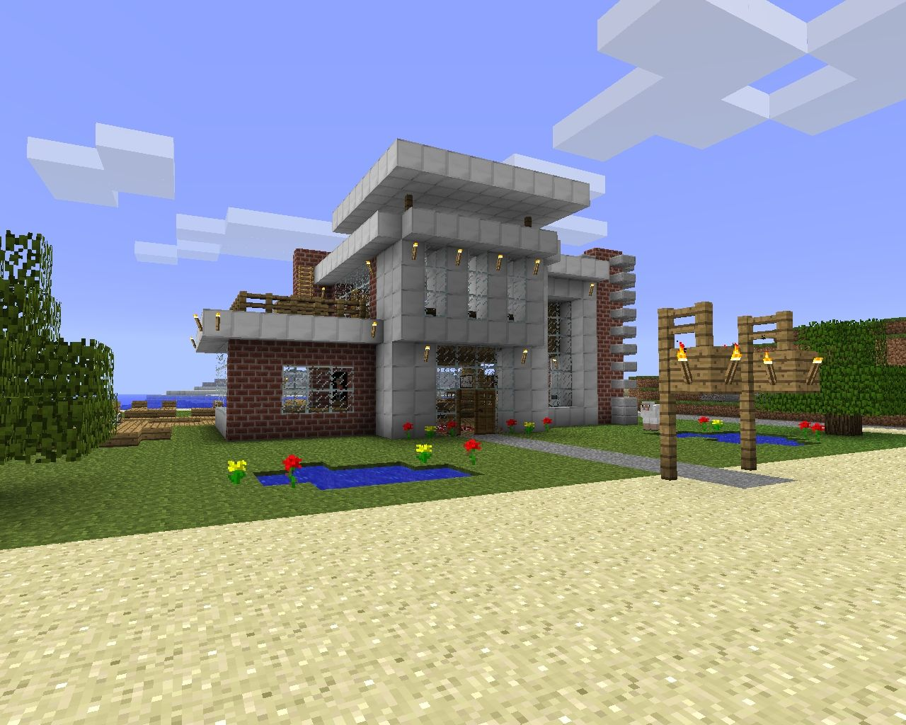 Modern beach house design download minecraft project for Modern house xbox minecraft