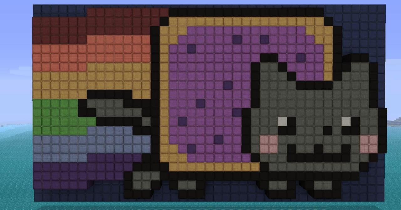 Evil nyan cat minecraft grid