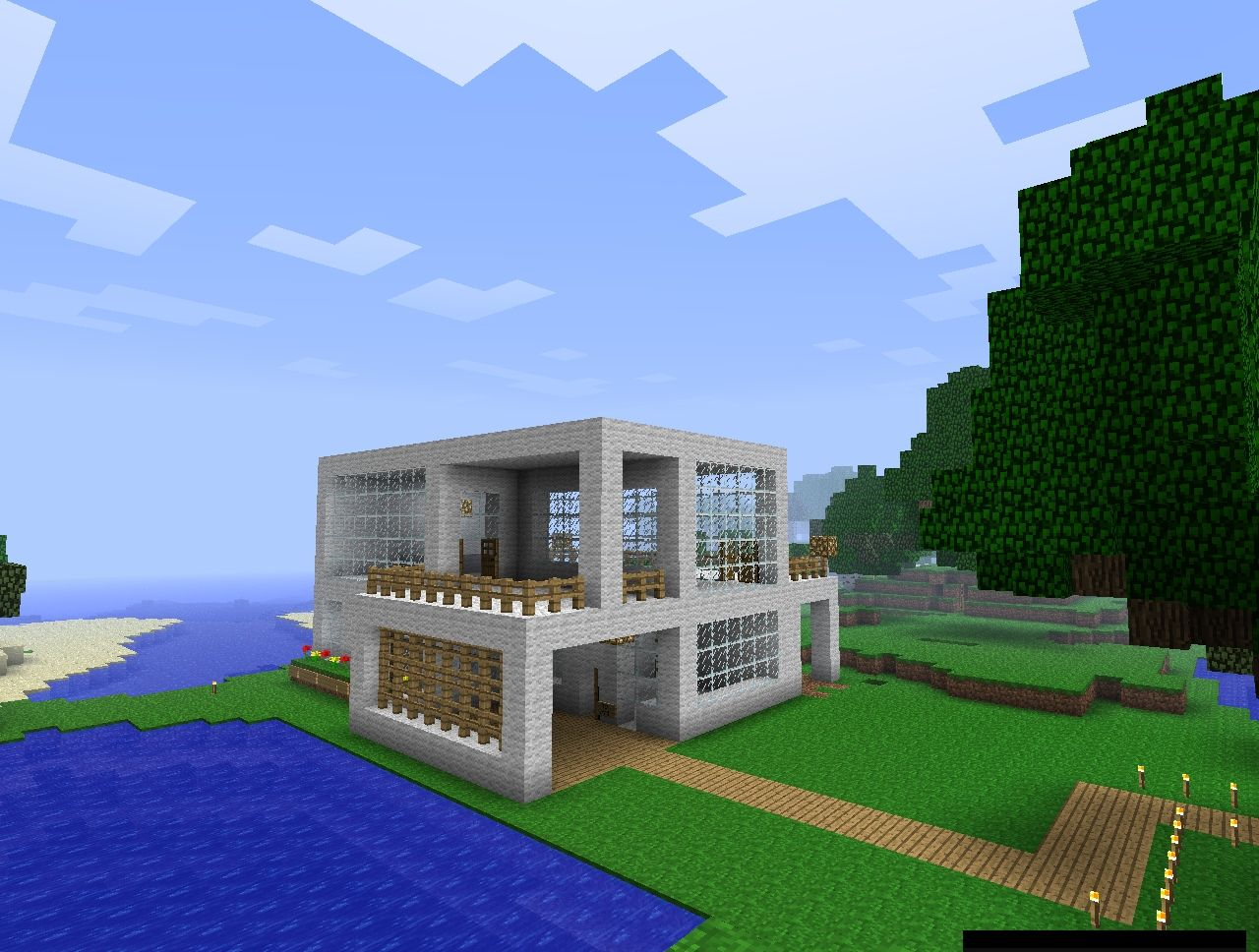 Half modern house minecraft project - Modern house minecraft ...