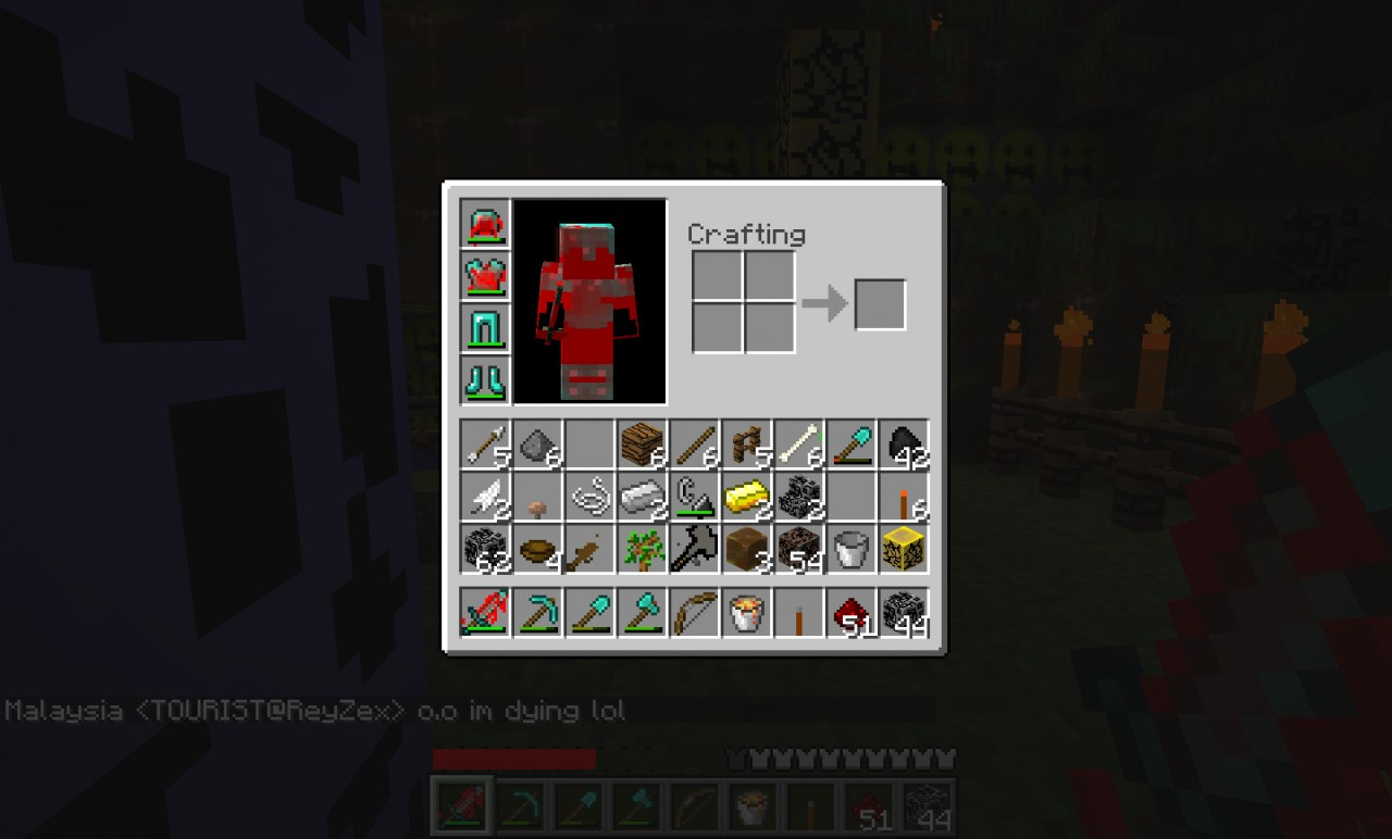 As you see, the diamond armor and sword are full of blood. Blood is also on iron and gold armor and swords. Hence the name of the texture, the blocks look wacky and ugly.