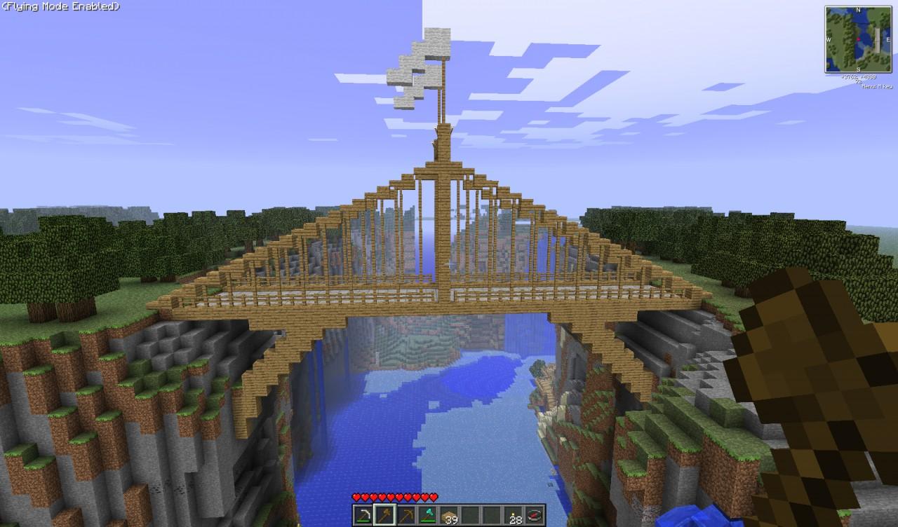wooden suspension bridge minecraft project - Minecraft Japanese Bridge