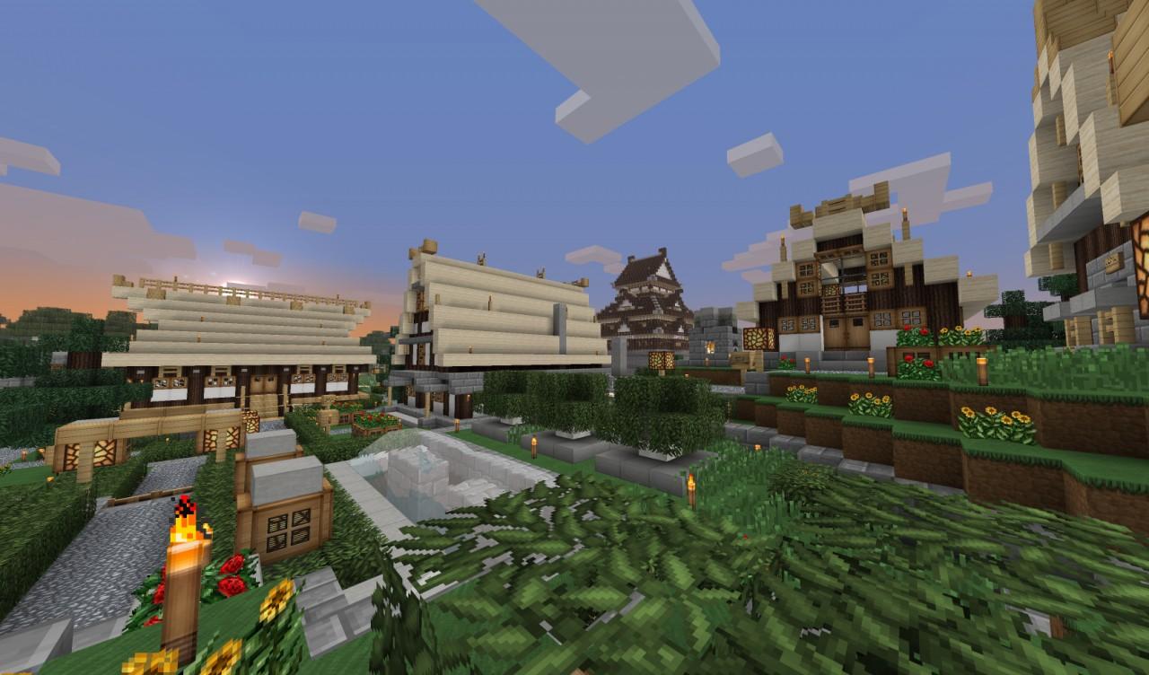 minecraft japanese town