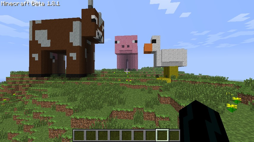 Minecraft pigs and cows