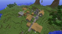 Minecraft 1.8 Seed: NPC Village and Crazy mountains at spawn!