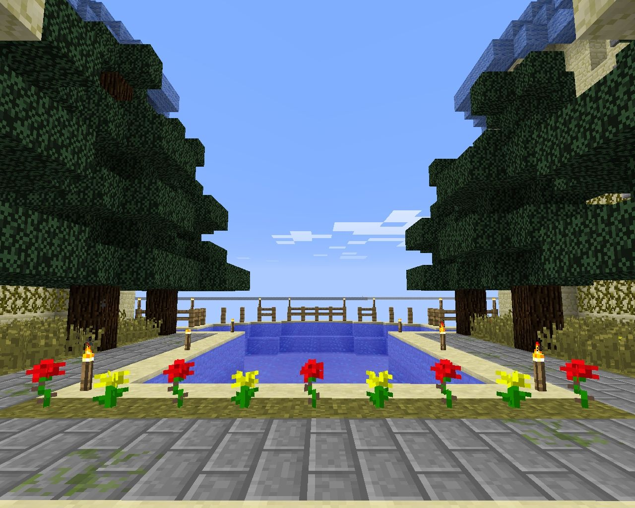 Hilltop castle minecraft project for Castle gardens pool