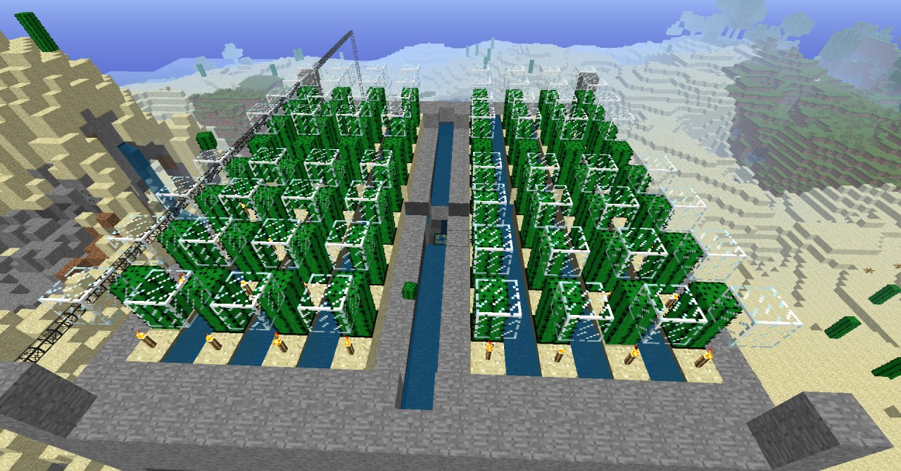 Fully Automatic Cactus Farm Minecraft Project