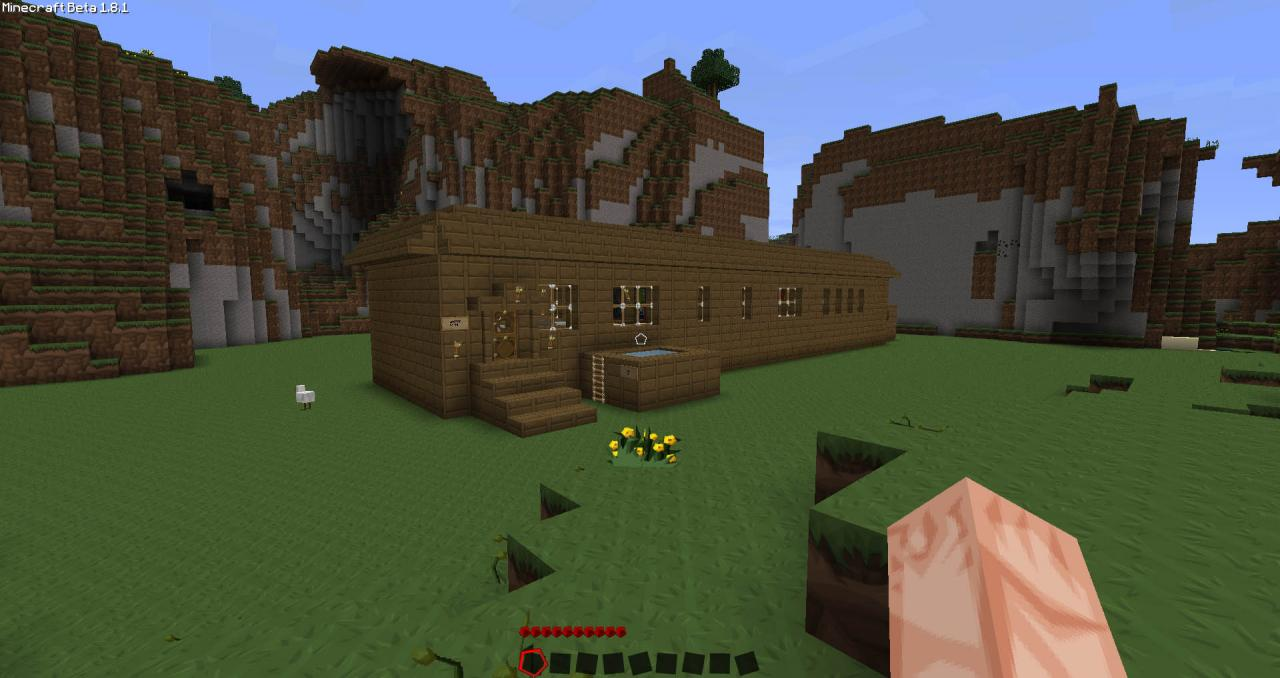 View from afar. Wood Cabin Minecraft Project