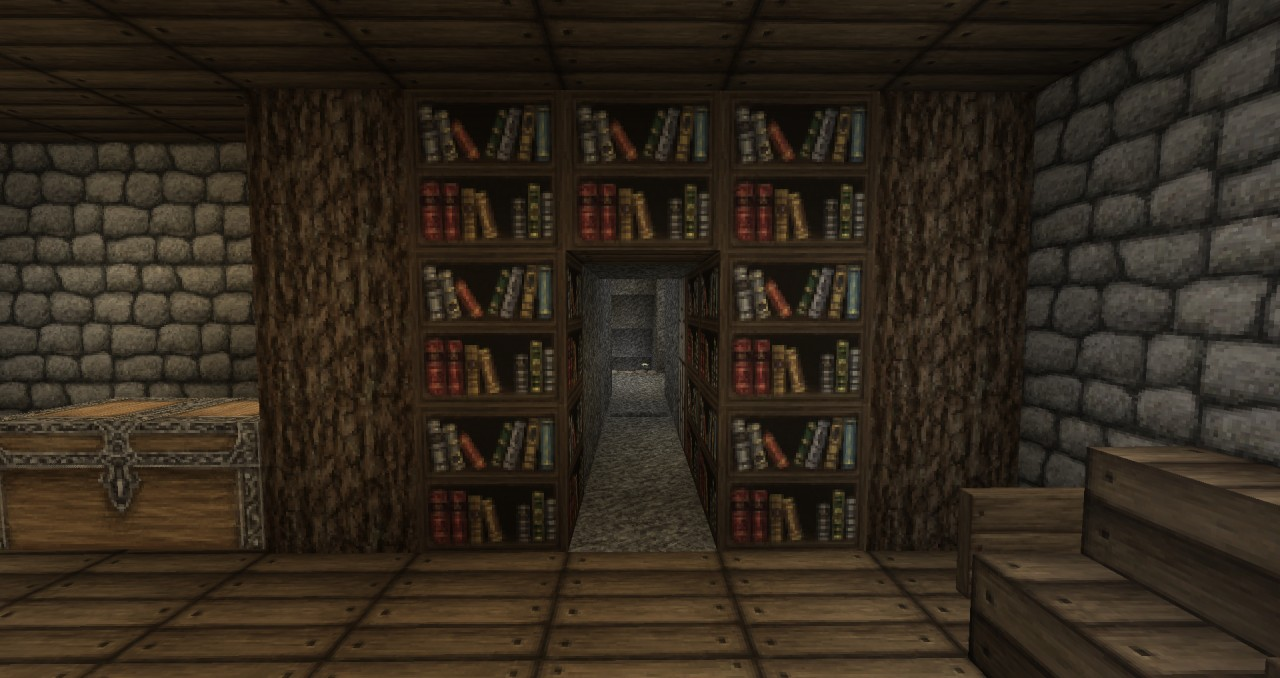 Hidden Passage Behind Wall Bookshelf Minecraft Project