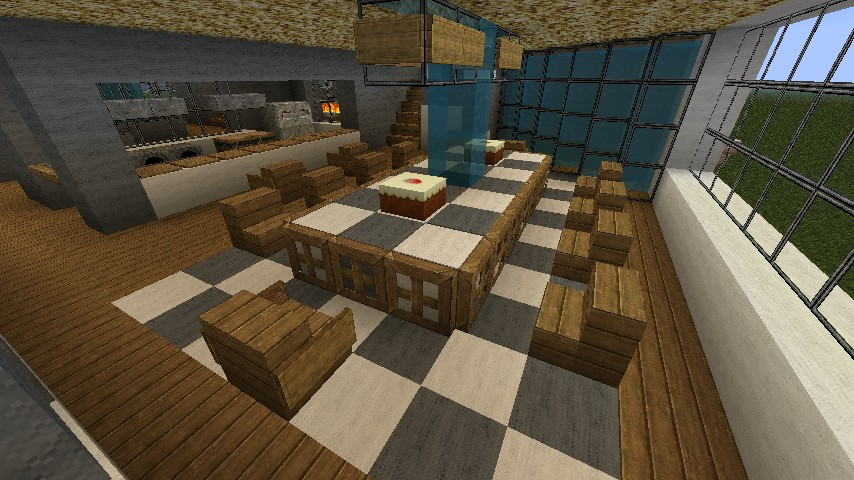Modern luxury estate updated world minecraft project for Dining room designs minecraft
