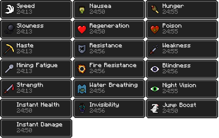 Complete list of potion effects as seen in the game