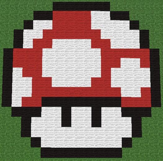 Mario Mushroom Pixel Art Minecraft Project