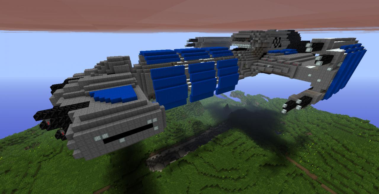 Terran Battlecruiser Raider Blue Minecraft Project