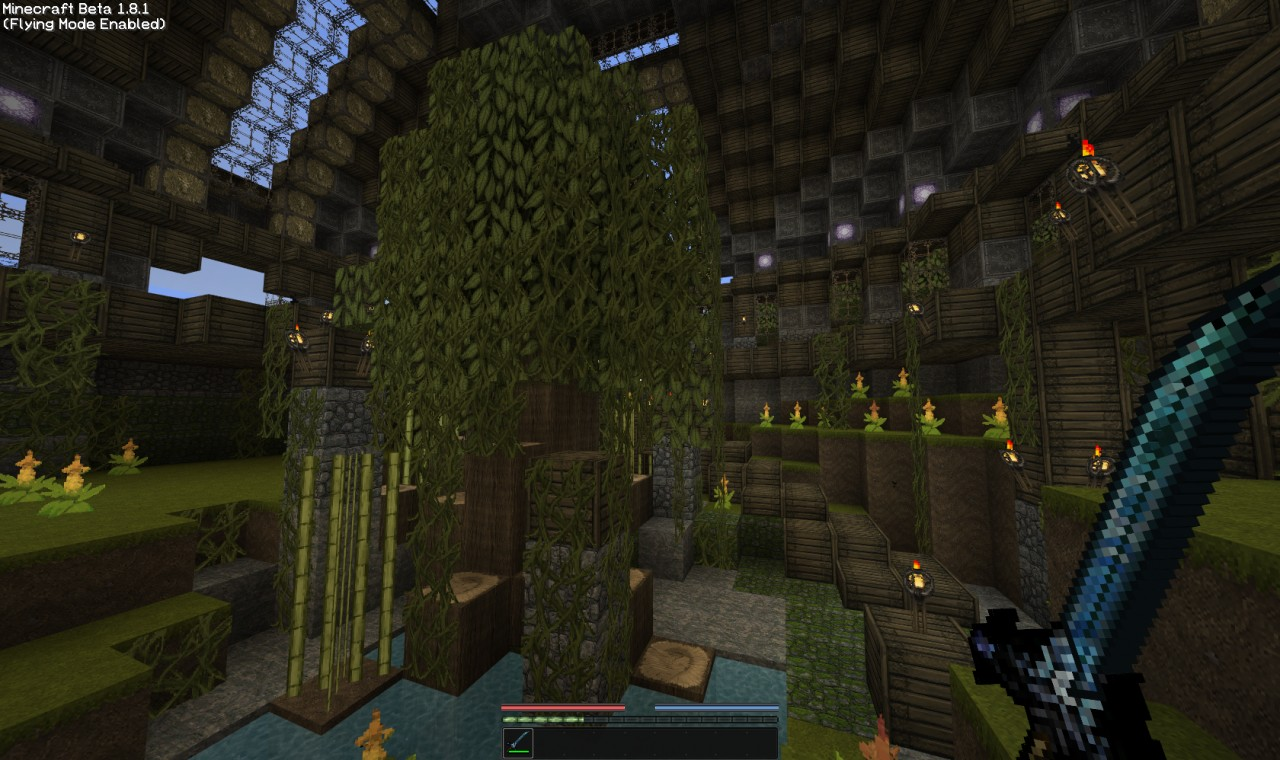 Diamond sword and vegetation