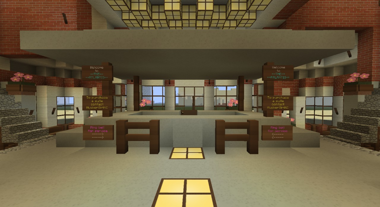 Hotel lobby minecraft and lobbies on pinterest for Design hotel games