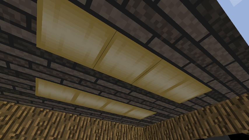 Glowstone lights with plank ceiling
