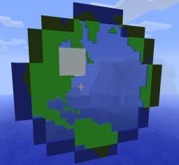HUGE planet minecraft logo [with water] (looks just like the real logo!) Minecraft Map & Project