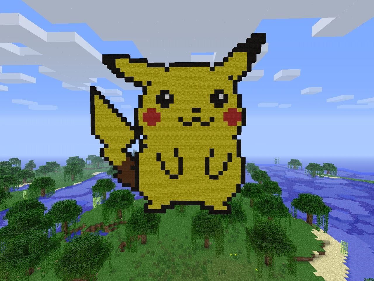 how to build pikachu in minecraft