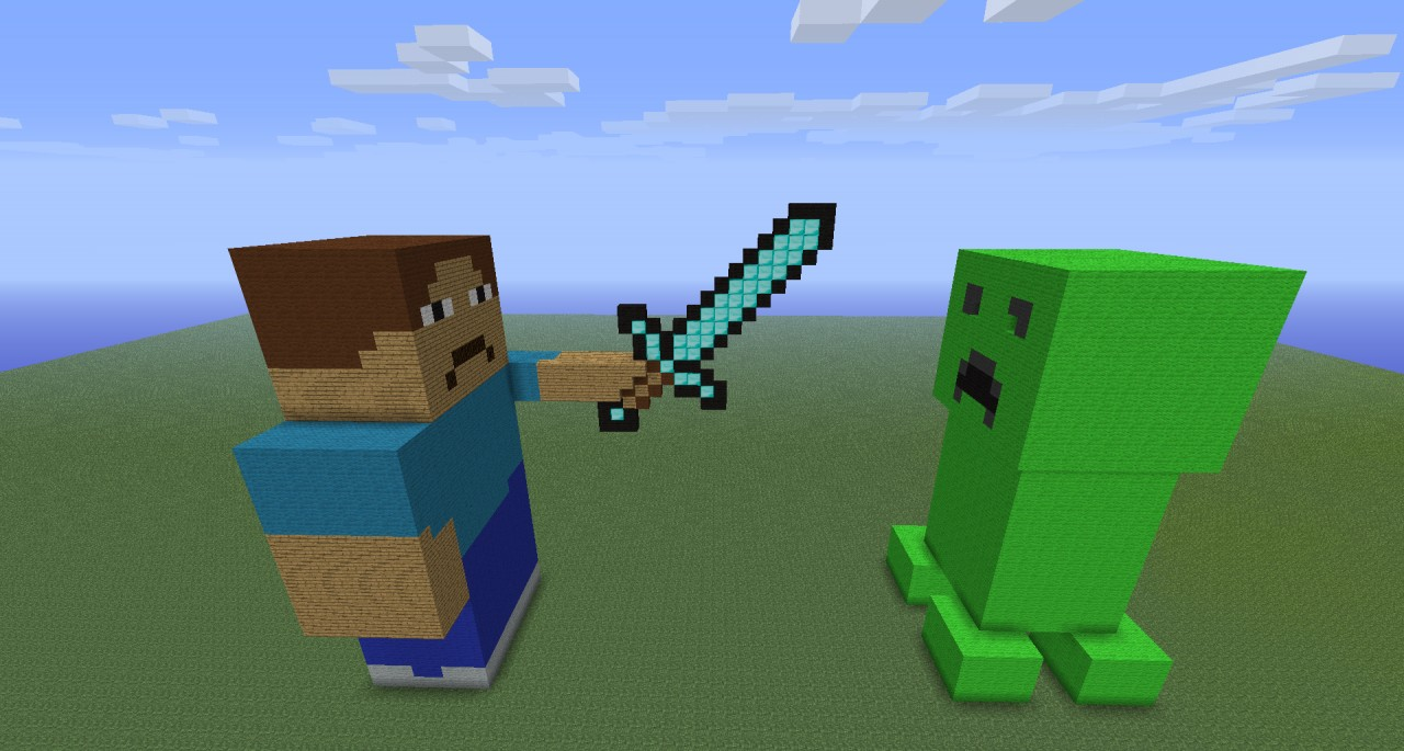 Epic battle of minecraft creeper vs man minecraft project - Minecraft creeper and steve ...