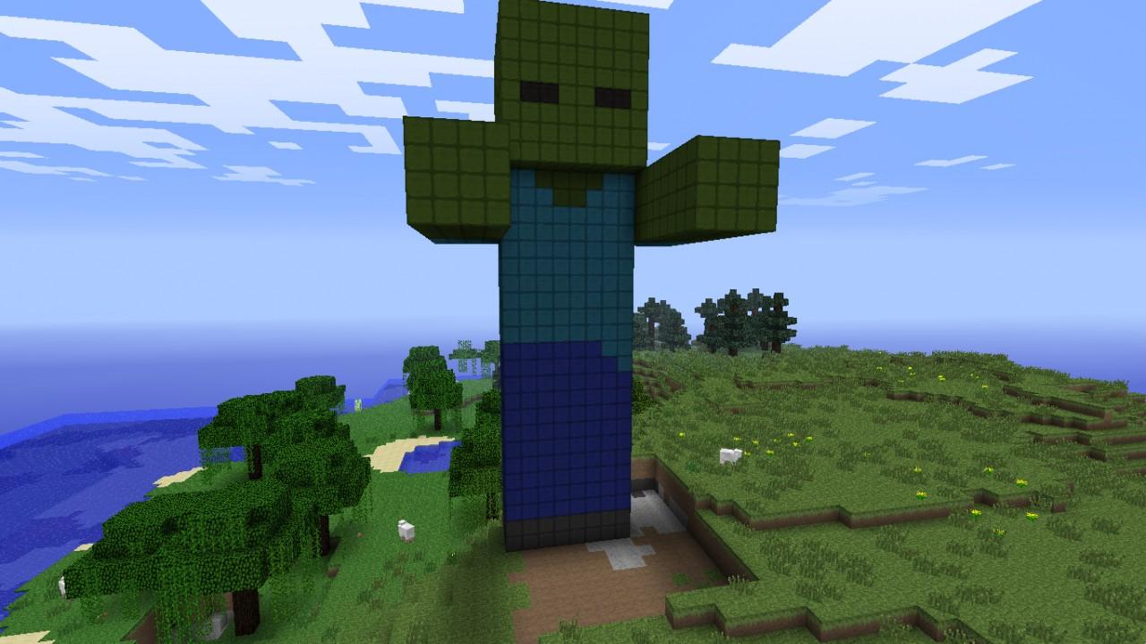 Minecraft Zombie Pixel Art Zombie statue minecraftZombie Head Minecraft Statue