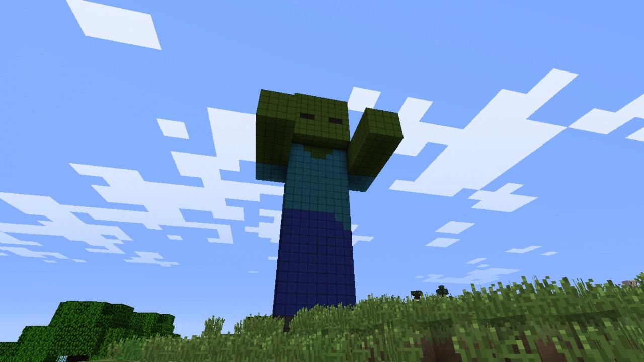 Minecraft Statue Blueprints Zombie statue minecraftZombie Head Minecraft Statue