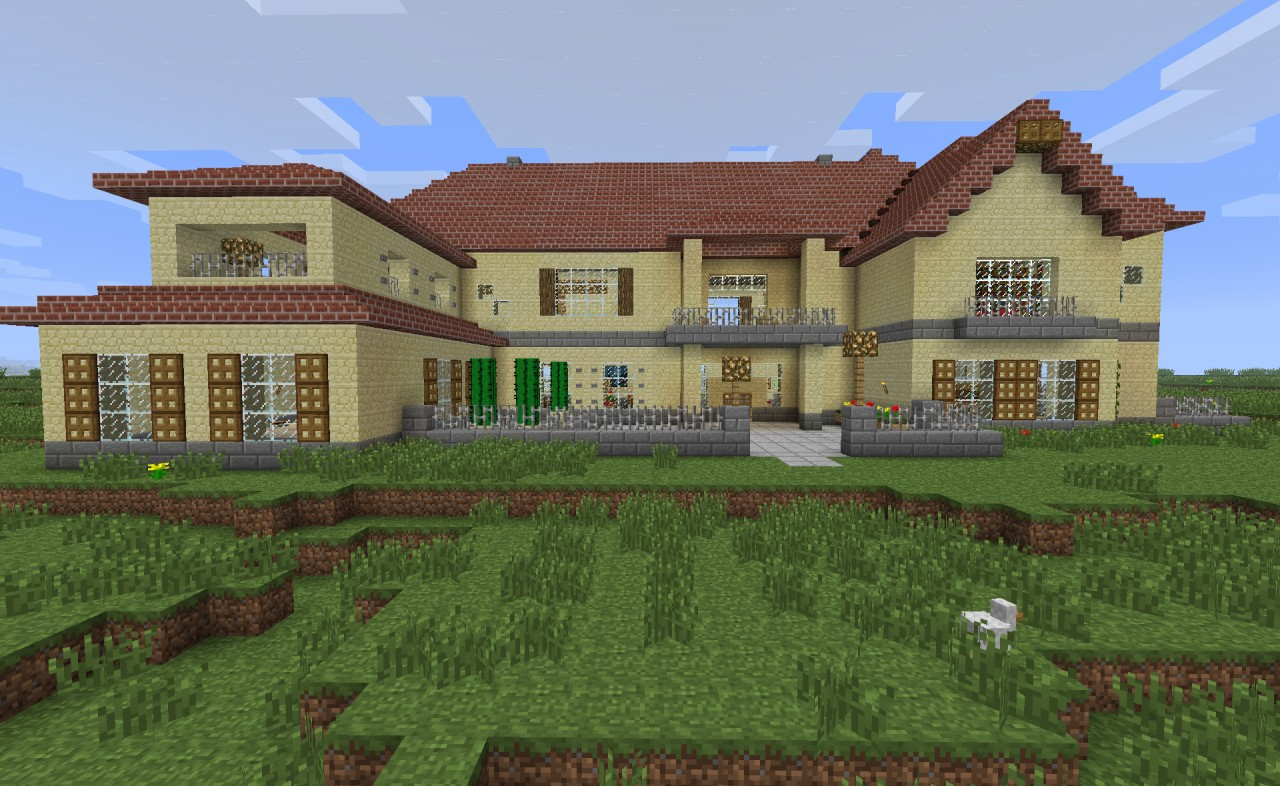 One Story House Blueprints Sevenchest Mansion Minecraft Project