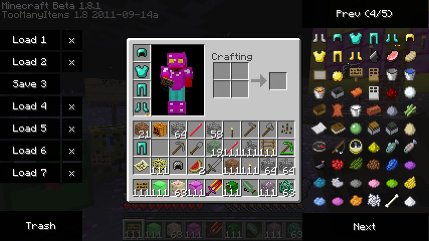 the diamond armor and some items