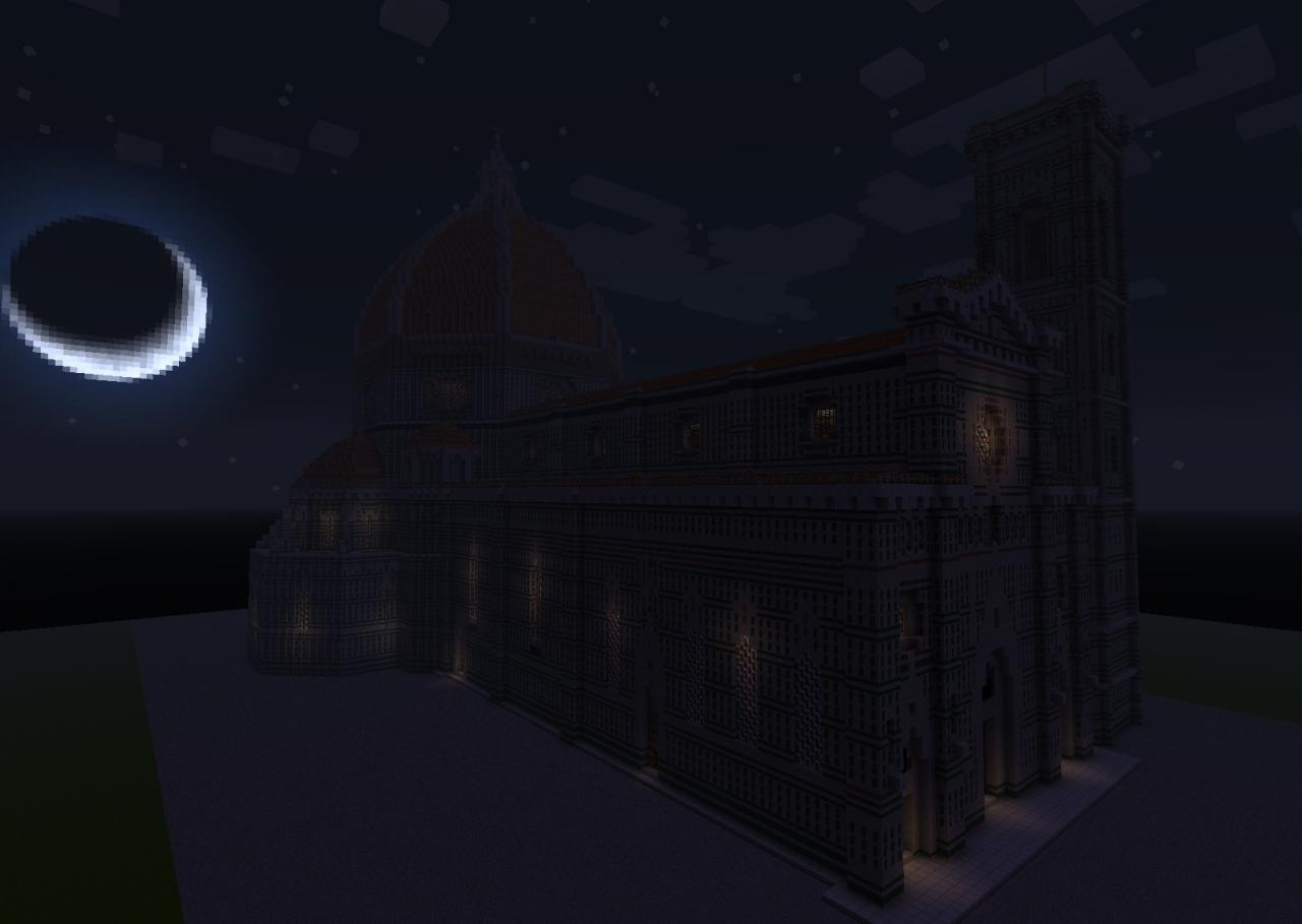 the Duomo at night, with light shining through the stained glass (also regular glass in the clerestory windows)