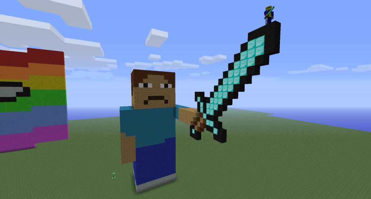 minecraft how to draw a diamond sword