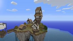 Medieval village in floating island. Minecraft Map & Project