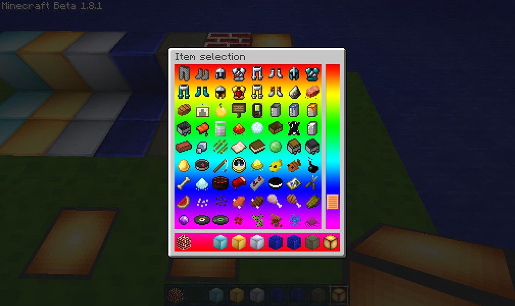 Creative mode view of some items.