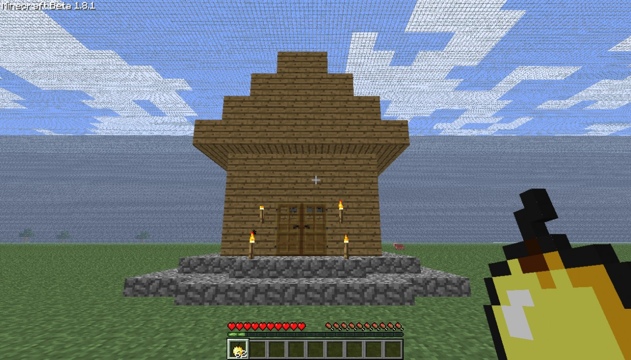 Cabin Front View. Small Log Cabin Minecraft Project