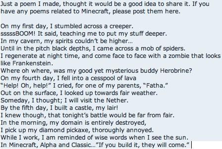 Minecraft - Poem Minecraft Blog