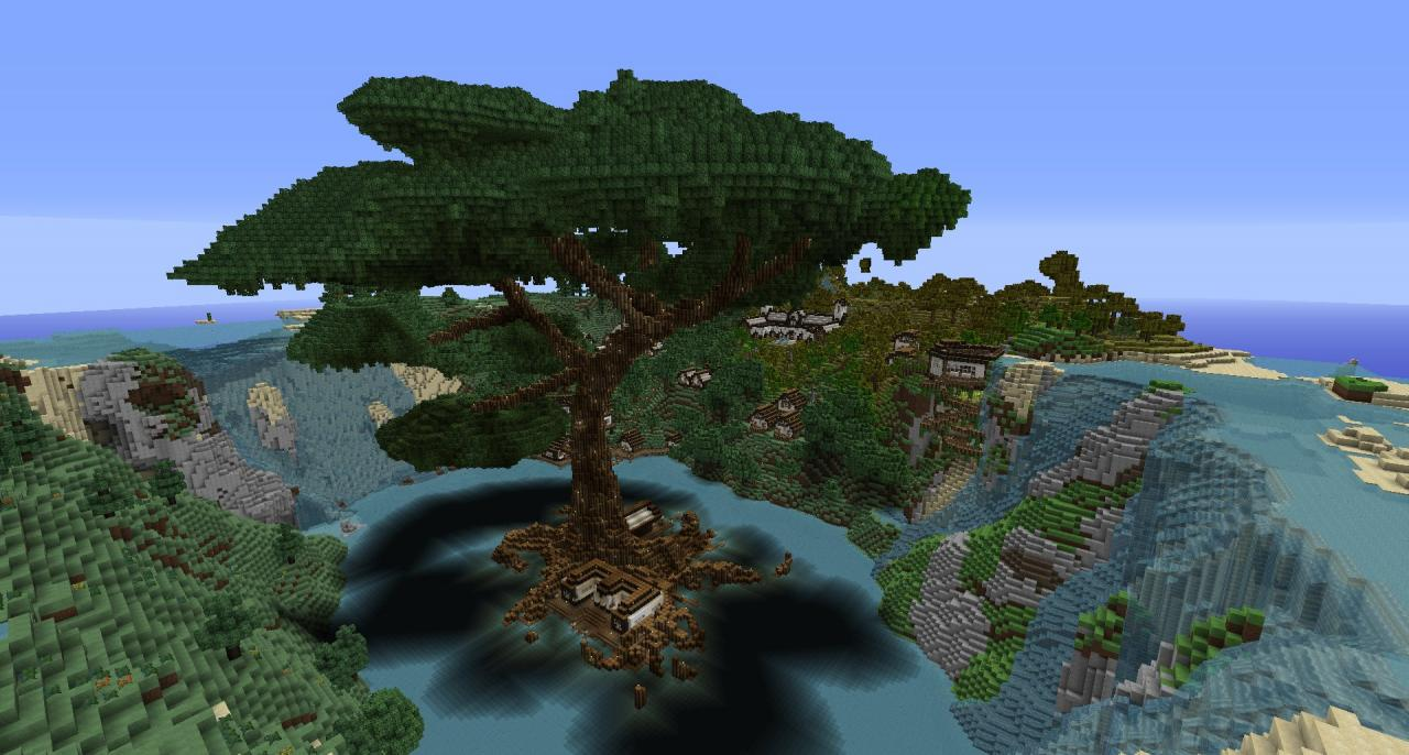 The Tree Village Of Sarius Minecraft Project: Big Tree Minecraft