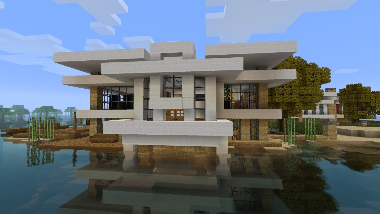 Modern house tutorial 2 beach town project minecraft project - Modern house minecraft ...