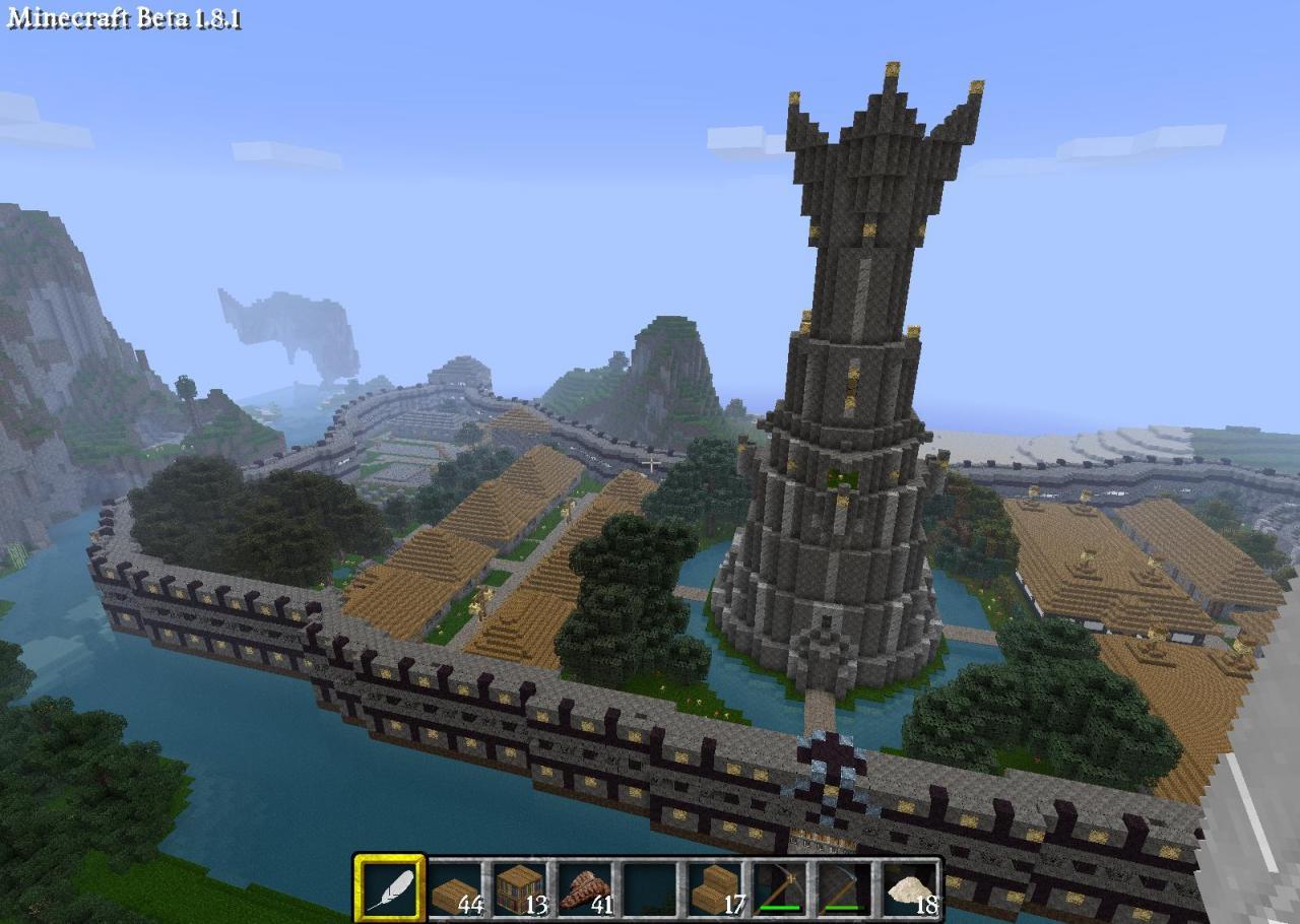 Big Island City With Nice Tower on Castle Portcullis