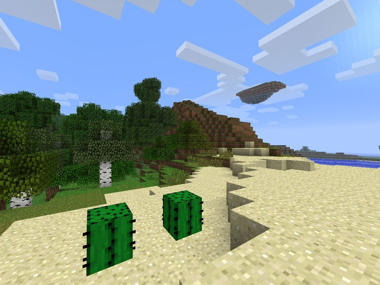 2 blocks of cactus and the island on the left from spawn