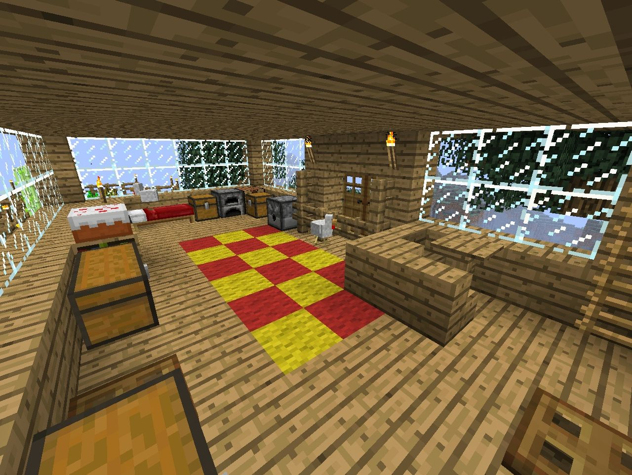 The first floor and my roommates (chickens :D)
