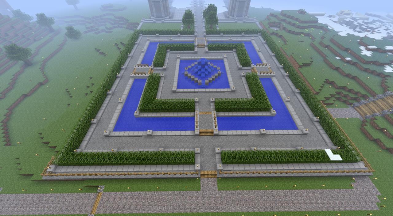 garden with fountain - Minecraft Garden Designs